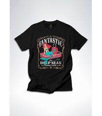 camiseta surf cool tees sereias em conserva preto