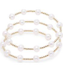 14k yellow gold & 7mm freshwater pearl wrap bracelet