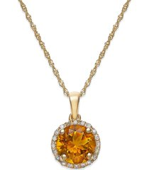 citrine (1-1/10 ct. t.w. and diamond accent pendant necklace in 14k gold (also available in garnet)