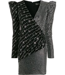 versace crystal studded fitted dress - black