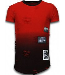 t-shirt korte mouw justing pictured flare effect long fi dual ed