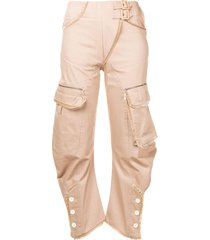 christian dior pre-owned multi-pocket trousers - neutrals
