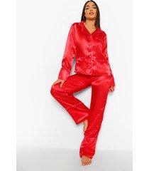 satijnen valentijns hartjes pyjama set met knopen, red