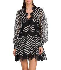 stella mccartney women's kinley silk puff-sleeve dress - black - size 34 (0)