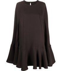 valentino silk cape dress - brown