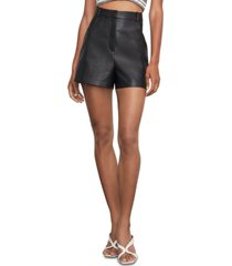 bcbgmaxazria faux-leather wide-leg shorts