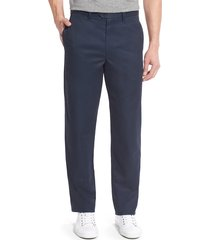 men's big & tall nordstrom men's shop smartcare(tm) classic supima cotton flat front straight leg dress pants, size 44 x 36 - blue