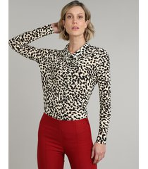 camisa feminina estampada animal print manga longa bege claro