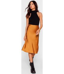 womens slipped and fell satin midi skirt - toffee