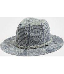 danielle pattern trim panama hat - indigo