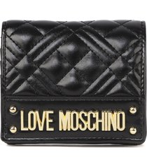 love moschino black new shiny quilted ecoleather wallet