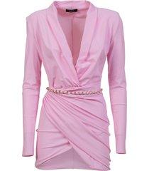 amen long sleeves wrap around mini dress in lycra