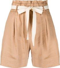 semicouture pull-on tie-waist shorts - neutrals