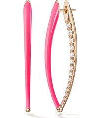 cristina large pink enamel and diamond earrings