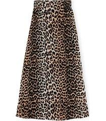 printed georgette elastic waist skirt in leopard