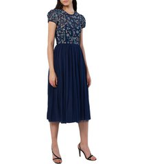 women's french connection diya fit & flare midi dress, size 12 - blue