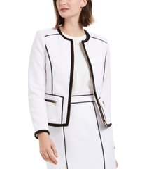 calvin klein petite contrast piping zip-up jacket