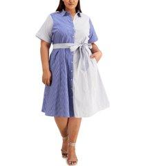 calvin klein plus size mixed-striped dress