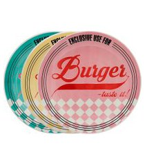 conjunto 3 pratos rasos burger 26cm oxford cerâmica