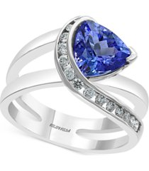 effy tanzanite (1-1/2 ct. t.w.) & diamond (1/4 ct. t.w.) statement ring in 14k white gold