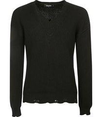 dsquared2 destroyed effect v-neck knit sweatshirt