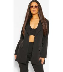 tailored oversized longline blazer, black