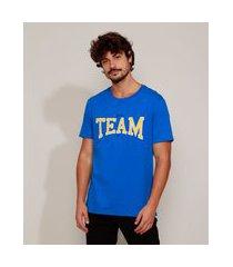 "camiseta masculina com bordado team"" manga curta gola careca azul"""