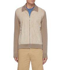 suede front zip up virgin wool jacket