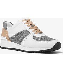 mk sneaker allie in tela con borchie e mesh metallico glitterato - nero/argento (argento) - michael kors