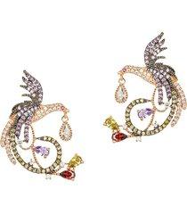 eye candy la women's luxe goldtone & multicolored crystal bird statement earrings