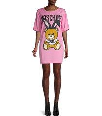women's moschino x playboy teddy bear t-shirt dress - rosa - size 40 (6)