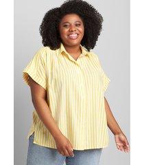 lane bryant women's button-down tie-hem blouse 20 yellow stripe