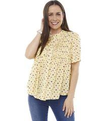 blusa cuello redondo full print amarillo mujer corona