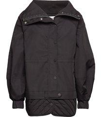 double cotton doorgestikte jas zwart ganni