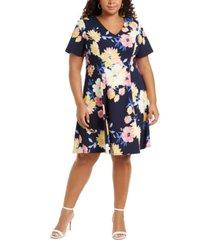 jessica howard plus size printed v-neck dress