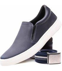 kit sapatênis casual versales com cinto ajuste elástico flexível azul