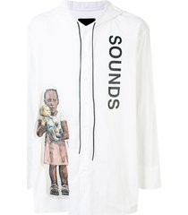 bmuet(te) oversized hooded shirt - white