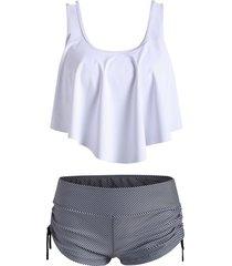 flounce overlay striped cinched tankini swimwear