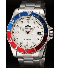 diseño de negocios ganador clásico reloj mecánico automático inoxidable material esfera blanca