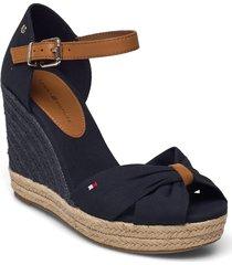 basic open toe high wedge sandalette med klack espadrilles blå tommy hilfiger