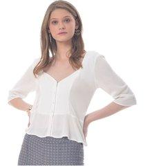 blusa para mujer en poliester blanco