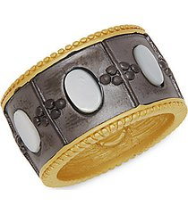 14k goldplated sterling silver & mother-of-pearl imperial ring