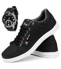 kit sapatênis casual cr shoes com elástico lançamento preto com relógio