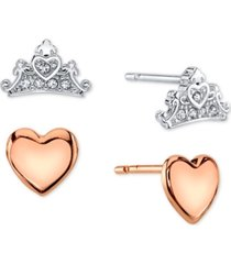 disney 2-pc. set cubic zirconia heart & tiara stud earrings in silver-tone & rose gold-tone