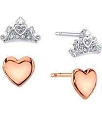 disney 2-pc. set cubic zirconia heart & tiara stud earrings in two-tone fine silver plate