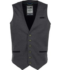 no excess gilet, yarn dyed stripe knitted dk grey