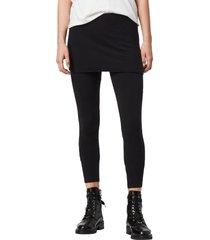 women's allsaints raffi skirted leggings, size large - black
