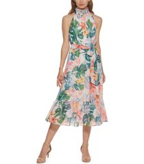 eliza j floral-print midi dress