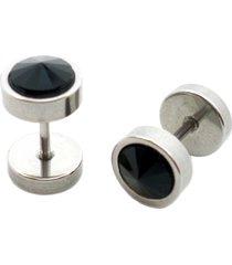 brinco tuliska estilo alargador ebony - 8 mm preto e prata