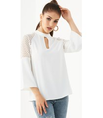 yoins white chiffon cut out stand collar bell sleeves blouse